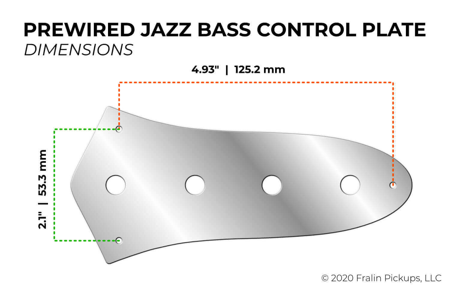 Prewired Jazz Bass Control Plate Dimensions